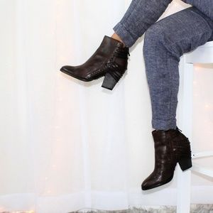 Dolce Vita Wrapped Lace Leather Brown Booties